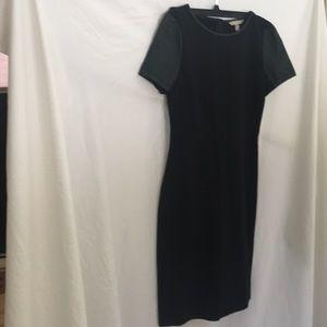 Black Faux leather sleeved dress Banana Rebuplic